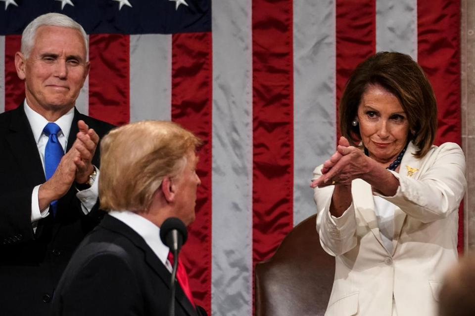 Nancy Pelosi set the tone even before President Trump spoke. When he arrived on the dais, she looked the president in the eye and applauded, pointing her hands at him even as she made them clap.